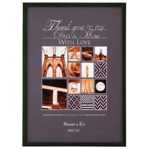 両親贈呈用イニシャルアートM ブラウン グリーン ナチュラル 枠太 43.7×31.5cm アルファベット 写真 名入れ 結婚式 両親 記念品 プレゼント 贈り物 ギフト お祝い ウェルカムボード フォトアート