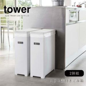 山崎実業 タワー 分別 ごみ箱 折り畳み シンプル 2個セット