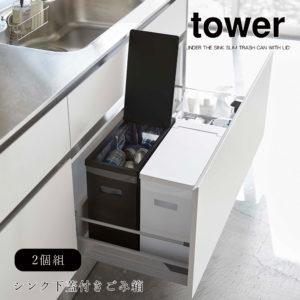 山崎実業 タワー ごみ箱 分別用 2個